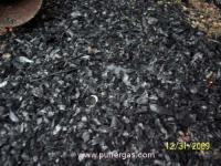 Charcoal Produced: A picture of the charcoal produced from the chipped hemlock.